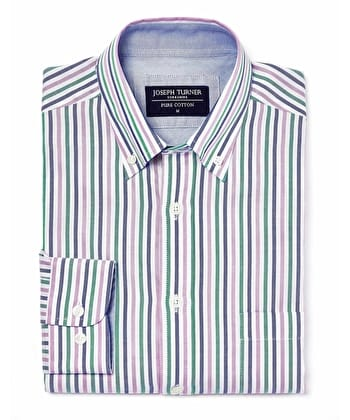Button-Down Oxford Shirt - Green/Blue/Lilac Stripe