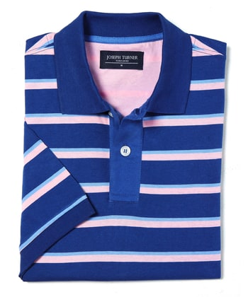 Striped Polo Shirt - Blue/Pink