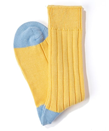 Heel & Toe Cotton Socks - Yellow/Sky