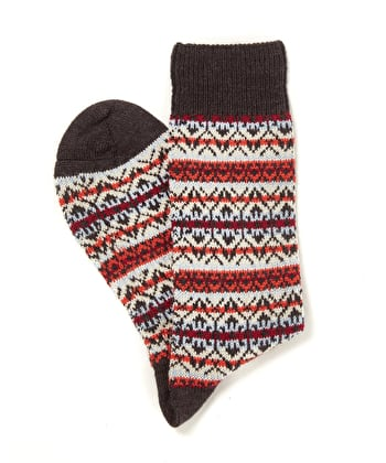 Fair Isle Socks - Orange/Blue/Charcoal