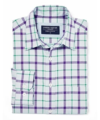 Brushed Cotton Check Shirt - Blue/Purple/Green