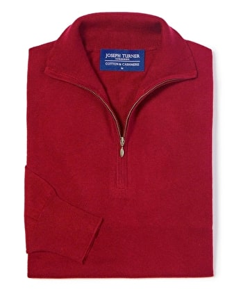 Cotton/Cashmere - Half Zip - Red