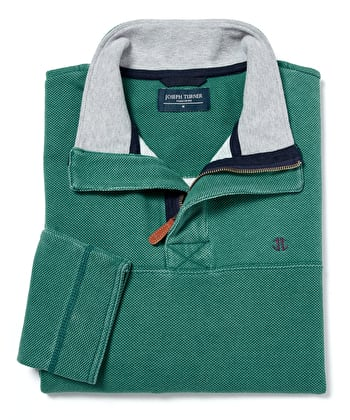 Washed Pique Half-Zip Sweatshirt - Green