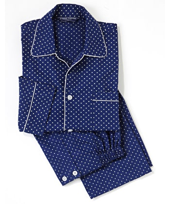 Pyjamas - Navy/White Polkadot - Fine Cotton