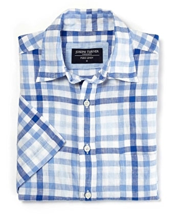 Linen Shirt - Short Sleeve - Blue/White Gingham