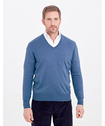 Cotton/Cashmere - V Neck - Blue