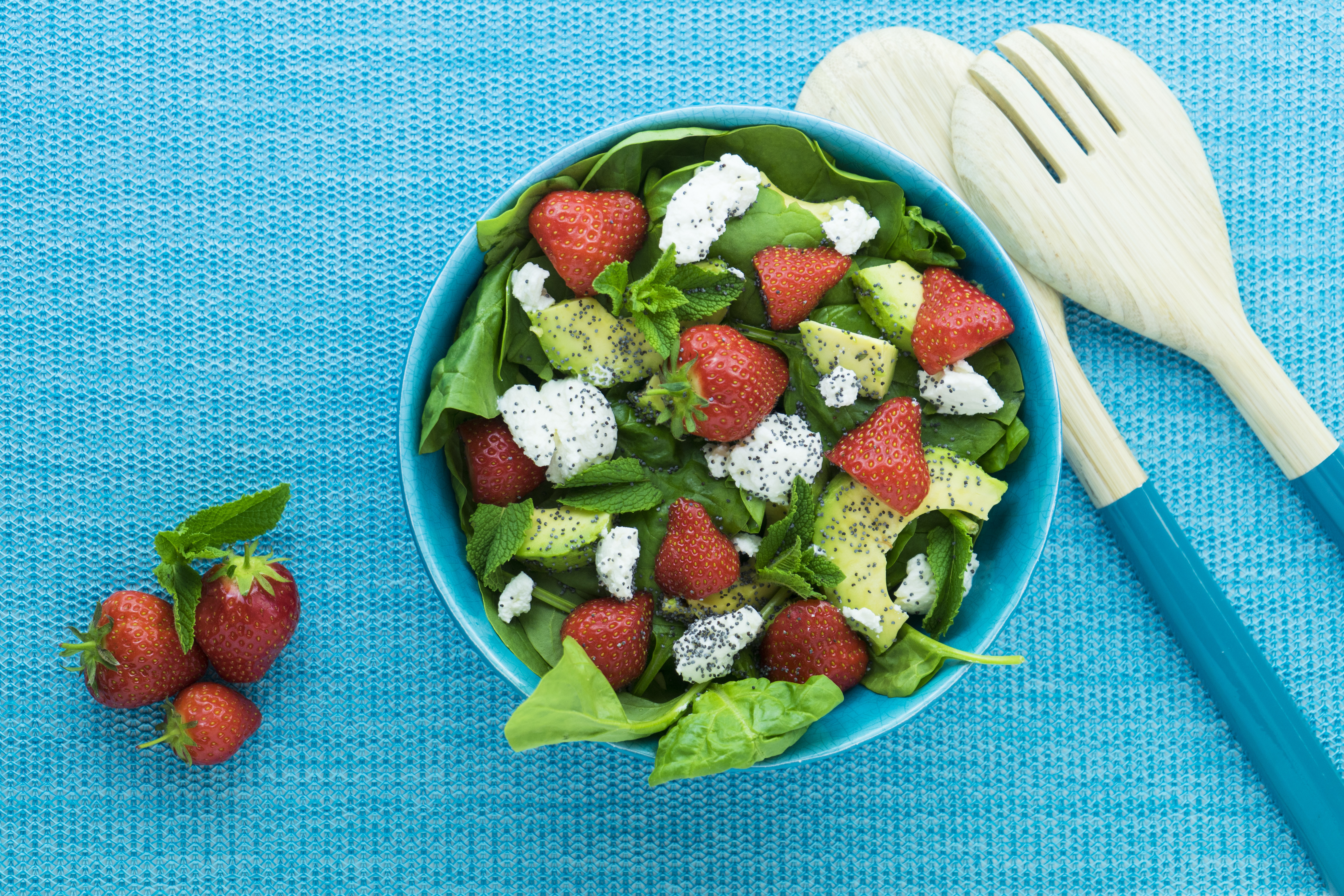 Strawberry, Avocado, Spinach and Ricotta Salad