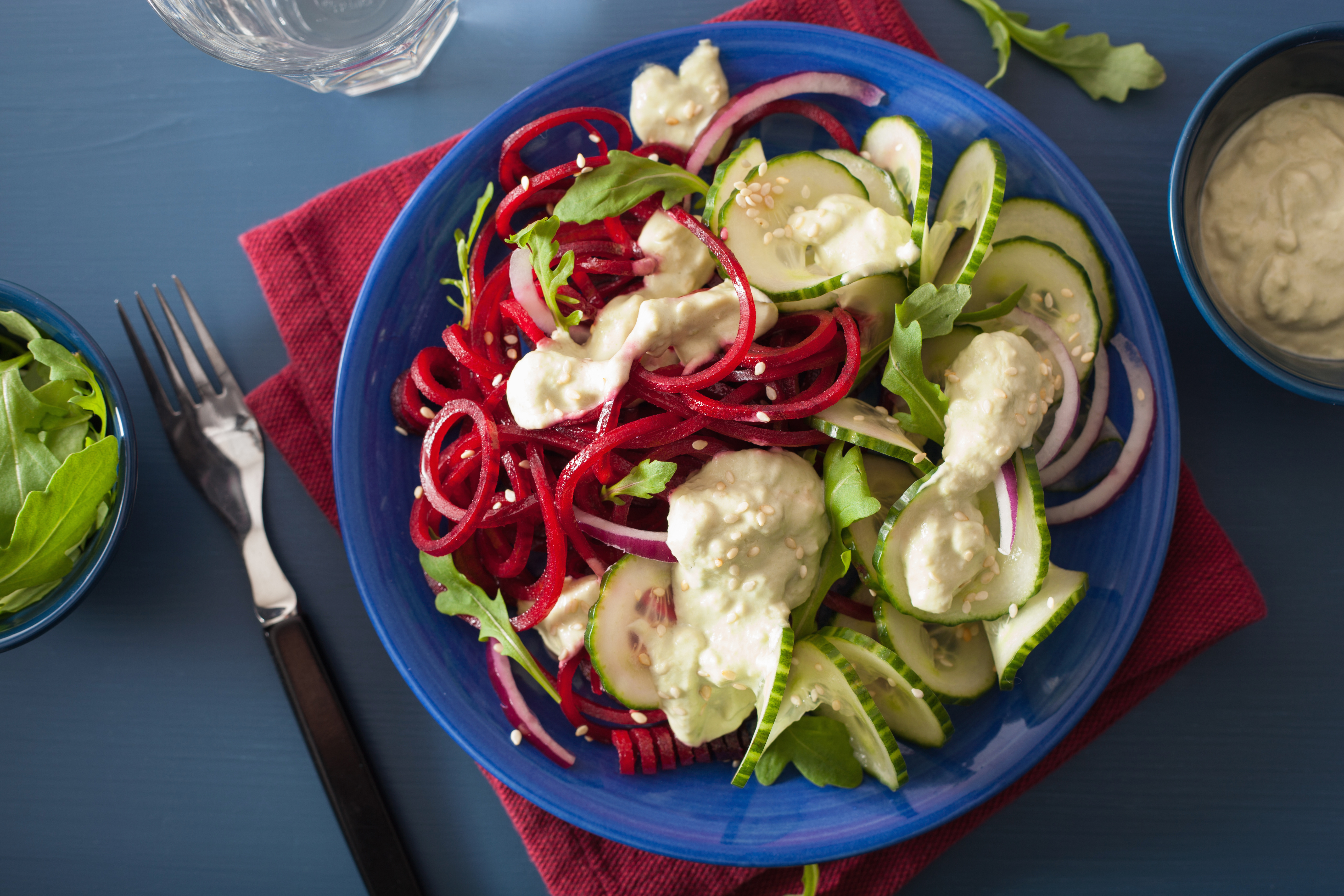 Beetroot and Cucumber Salad with Avocado Yoghurt Dressing