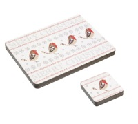 Little Red Robin Set of 4 Laminated Placemats & Coasters