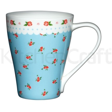 Kitchen Craft Fine Bone China Blue Ditsy Floral Wave Mug