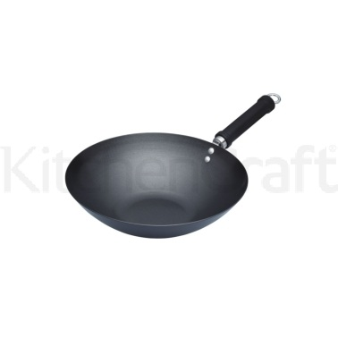 World of Flavours Oriental Carbon Steel 30cm Non-Stick Wok