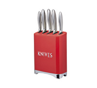 Lovello Retro 5-Piece Scarlet Red Stainless Steel Knife Set and Knife Block