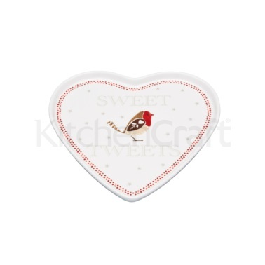 Little Red Robin Heart Shaped Serving Plate