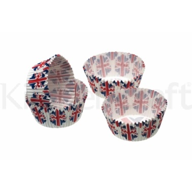 Sweetly Does It Pack of 80 Union Flag Petit Fours / Treat Cases