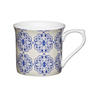 KitchenCraft Set of Four Fluted Fine Bone China Blue Filigree Mugs