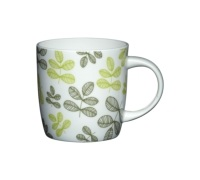 KitchenCraft Fine Bone China Green Leaves Barrel Mug