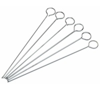 Kitchen Craft Pack of Six 20cm Flat Sided Skewers