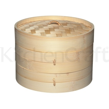 World of Flavours Oriental Medium Two Tier Bamboo Steamer and Lid