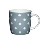 KitchenCraft Fine Bone China Grey Spots Barrel Mug