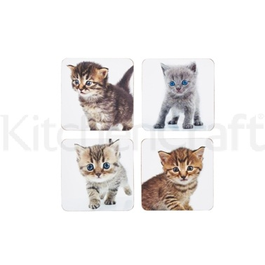 Kitchen Craft Kittens Cork Back Laminated Set of 4 Coasters