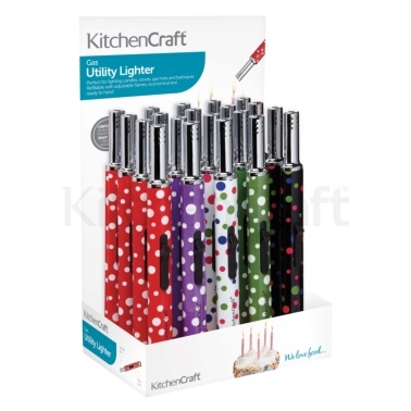 Kitchen Craft Display of 20 Polka Patterned Gas Lighters