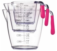 Colourworks 3 Piece Pink Acrylic Measuring Jug Set