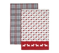 KitchenCraft Scottie Dog Set of 2 Tea Towels