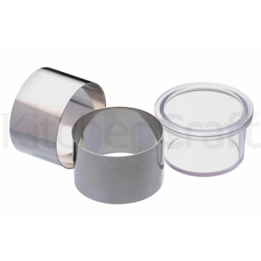 Master Class Set of Two Stainless Steel Cooking Rings with Pusher