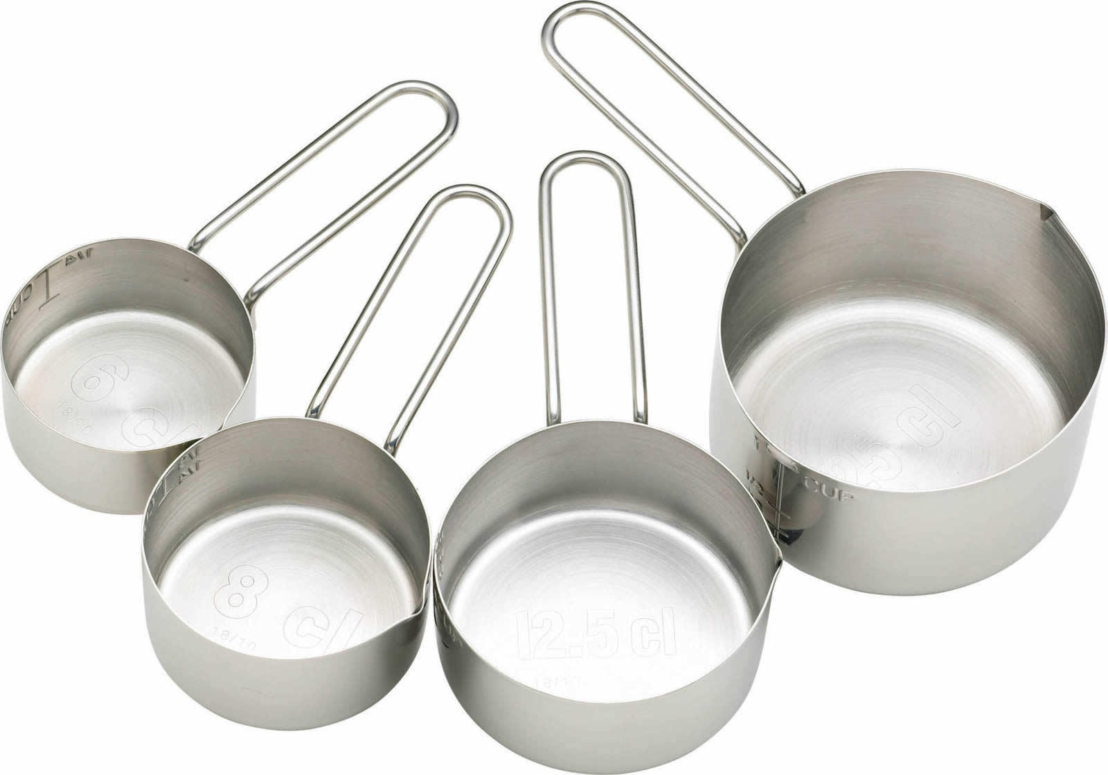 Masterclass stainless steel 4 piece measuring cup set for Harga kitchen set stainless per meter