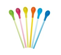 Kitchen Craft Set of 6 Colourful Spoon Straws
