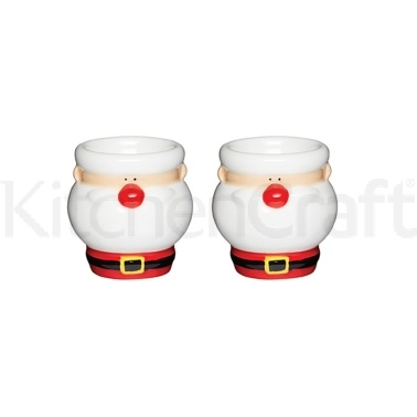 Santa & Friends Set of 2 Ceramic Egg Cups