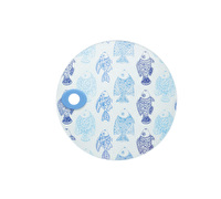 KitchenCraft Toughened Glass Round Worktop Protector - Fish