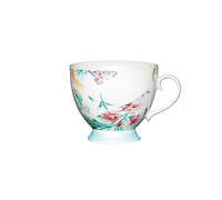 KitchenCraft Set of Four China White Birds Mugs