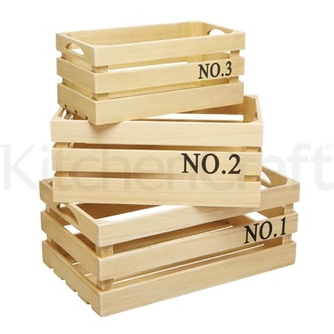 Natural Elements Set of 3 Paulownia Wood Crates