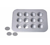Chicago Metallic Uncoated 12 Hole Mini Cheesecake Pan