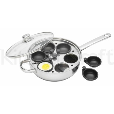 KitchenCraft Stainless Steel 28cm Six Hole Egg Poacher