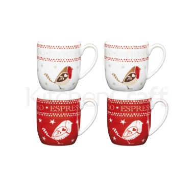 Little Red Robin Set of 4 120ml Espresso Cups
