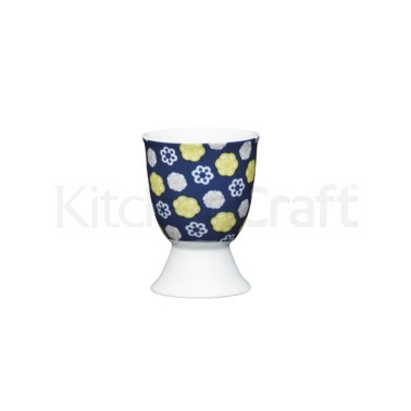 KitchenCraft Floral Blues Porcelain Egg Cup