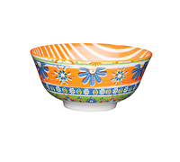 KitchenCraft Bold Flower Print Orange Ceramic Bowls