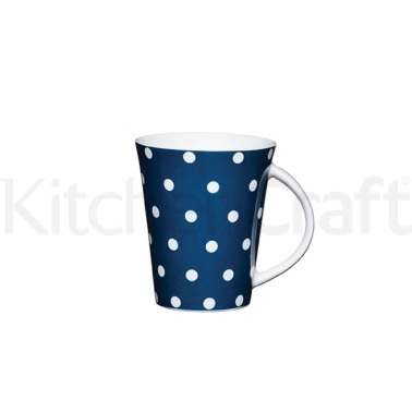 Kitchen Craft Fine Porcelain Navy Spot Mug