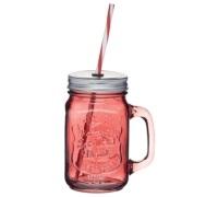 Home Made Coloured Glass Drinks Jar with Straw