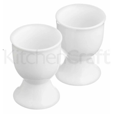 KitchenCraft Set of 2 White Porcelain Egg Cups