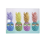 KitchenCraft Toughened Glass Rectangular Worktop Protector - Pineapple