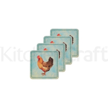 KitchenCraft Provence Cork Back Laminated Set of 4 Coasters
