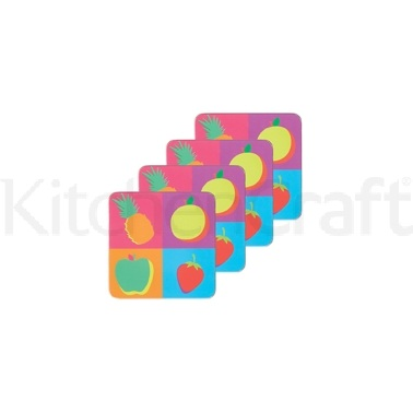 KitchenCraft Fruit Cork Back Laminated Set of 4 Coasters