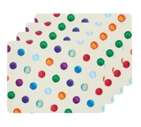 Kitchen Craft Polka Dot Cork Back Laminated Set of 4 Placemats