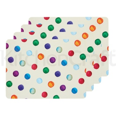 KitchenCraft Polka Dot Cork Back Laminated Set of 4 Placemats