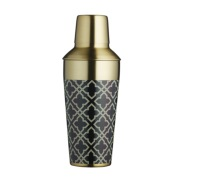 BarCraft 650ml Art Deco Brass Finish Cocktail Shaker