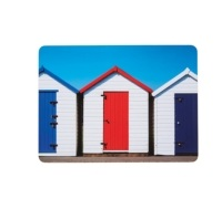 KitchenCraft Beach Hut Cork Back Laminated Set of 4 Placemats