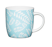 KitchenCraft Set of Four Fine Bone China Blue Leaf Mugs